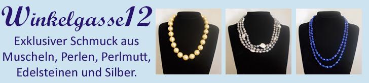 Winkelgasse12.de -  Exklusiver Schmuck aus Muscheln, Perlen, Perlmutt, Edelsteinen und Silber.